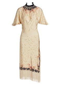 Paco Rabanne Floral-Print Fringe-Trim Dress