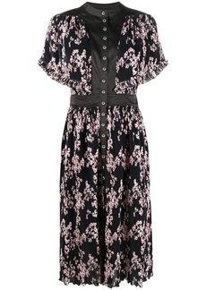 Paco Rabanne floral-print pleated midi dress