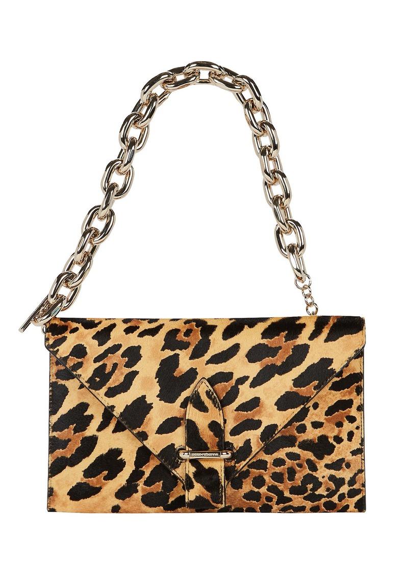 Paco Rabanne Folded Leopard Calf Hair Clutch