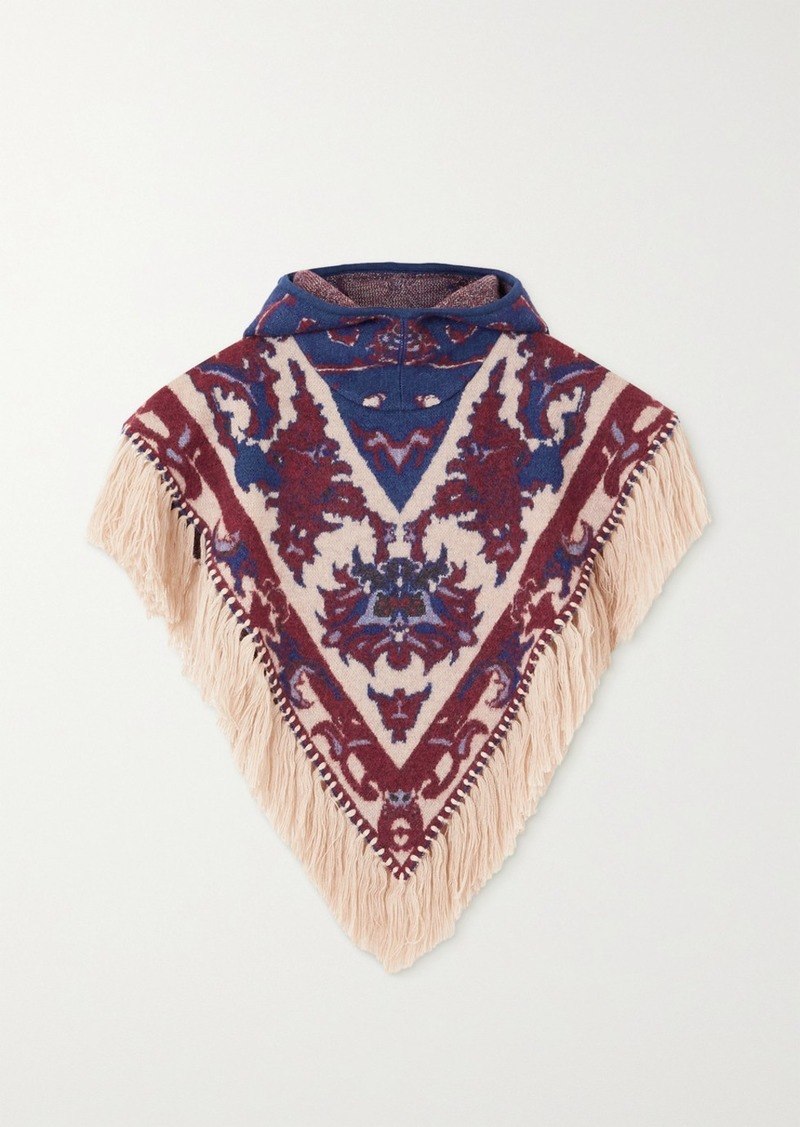 Hooded Fringed Intarsia Alpaca, Cotton And Wool-blend Poncho