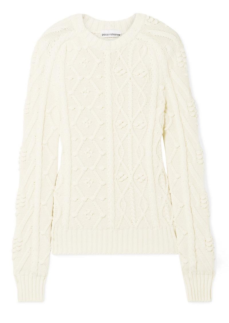 Paco Rabanne Leather-appliquéd Cable-knit Cotton Sweater