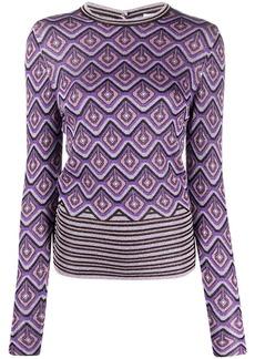 Paco Rabanne metallic geometric-intarsia jumper