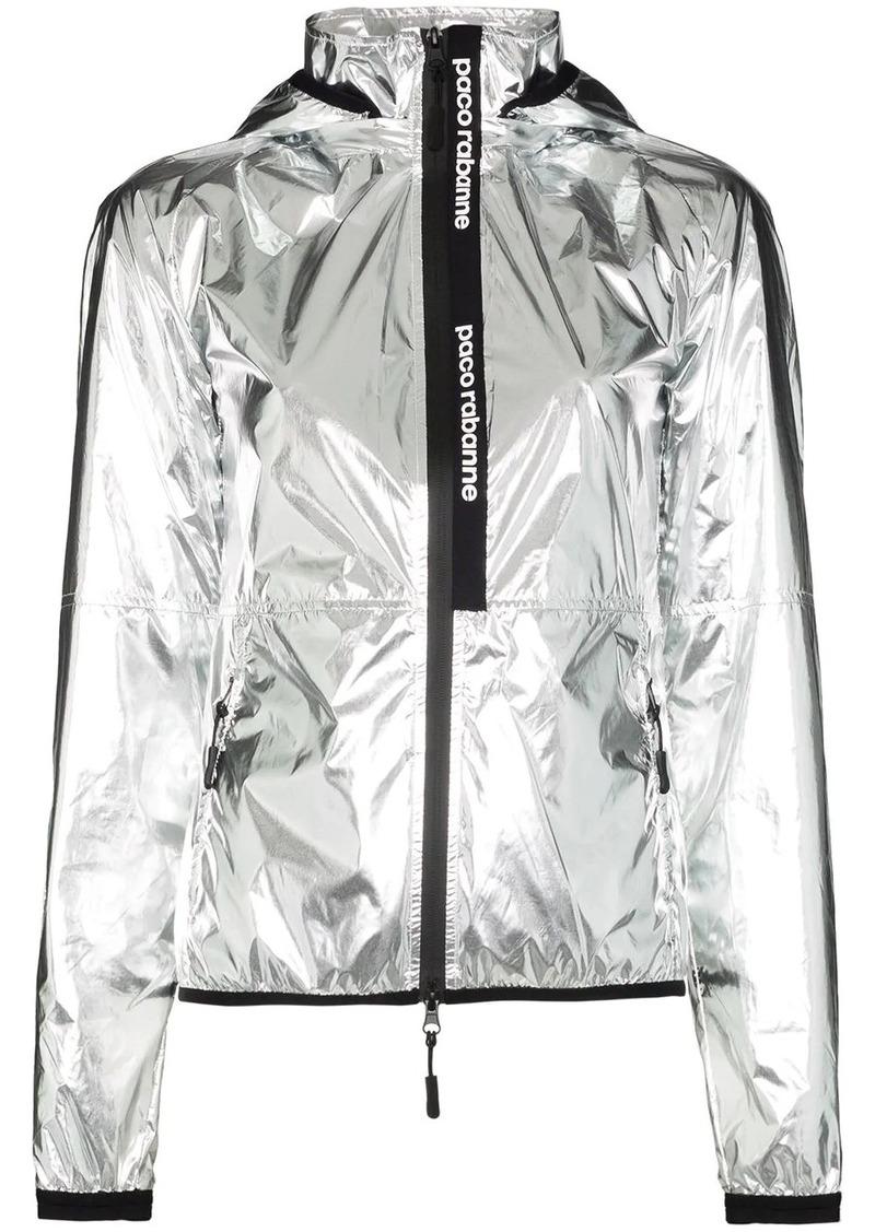 Paco Rabanne metallic zip-front track jacket