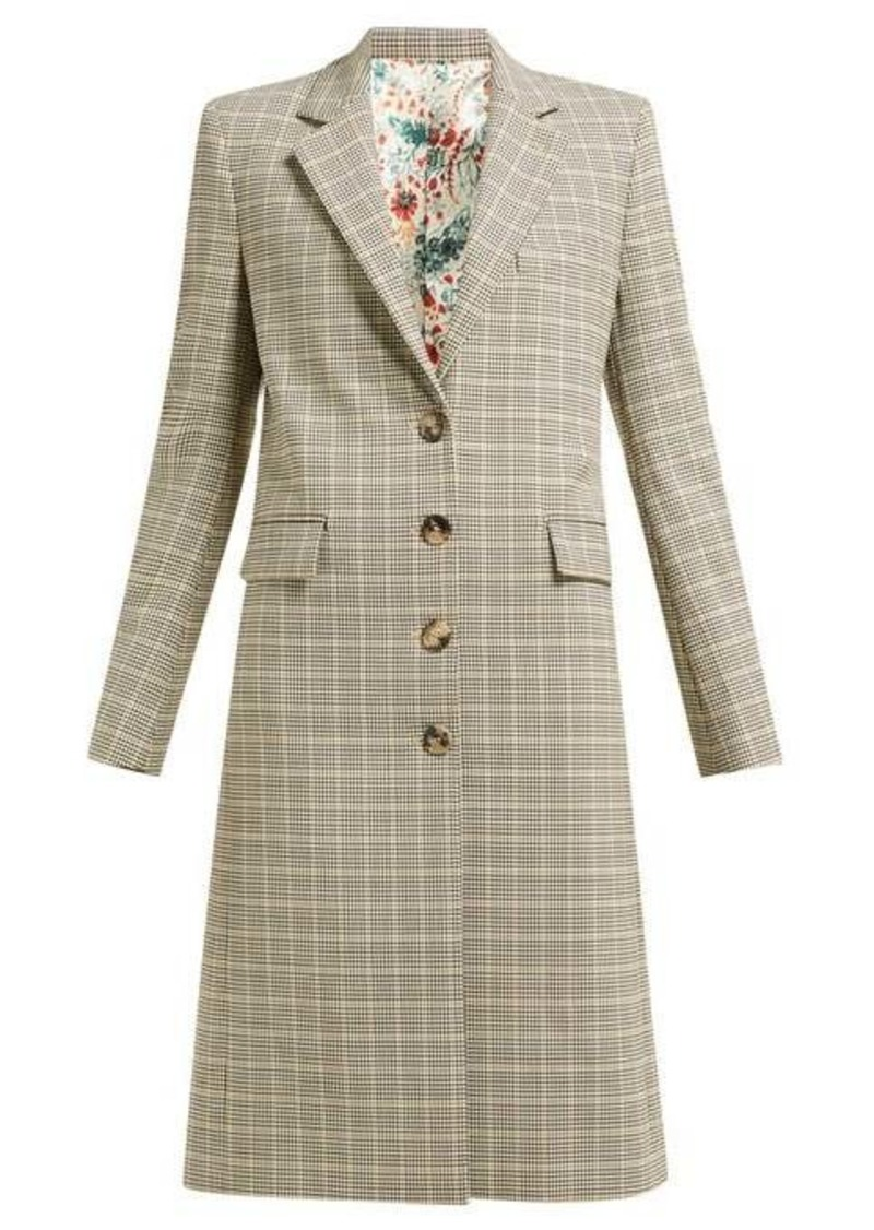 Paco Rabanne Checked single-breasted wool-blend coat