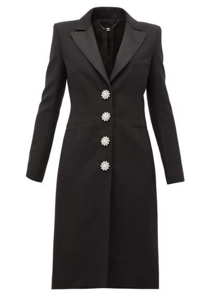 Paco Rabanne Crystal-button wool-blend overcoat
