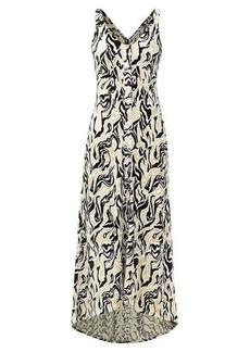 Paco Rabanne Dipped-hem metallic swirl-jacquard midi dress