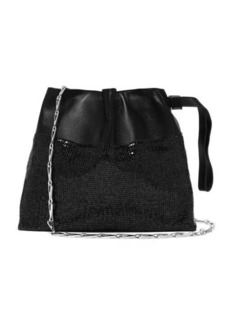 Paco Rabanne Drawstring chainmail leather clutch bag