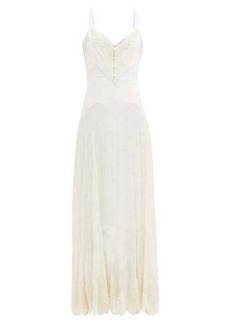 Paco Rabanne Floral-embroidered silk-chiffon dress