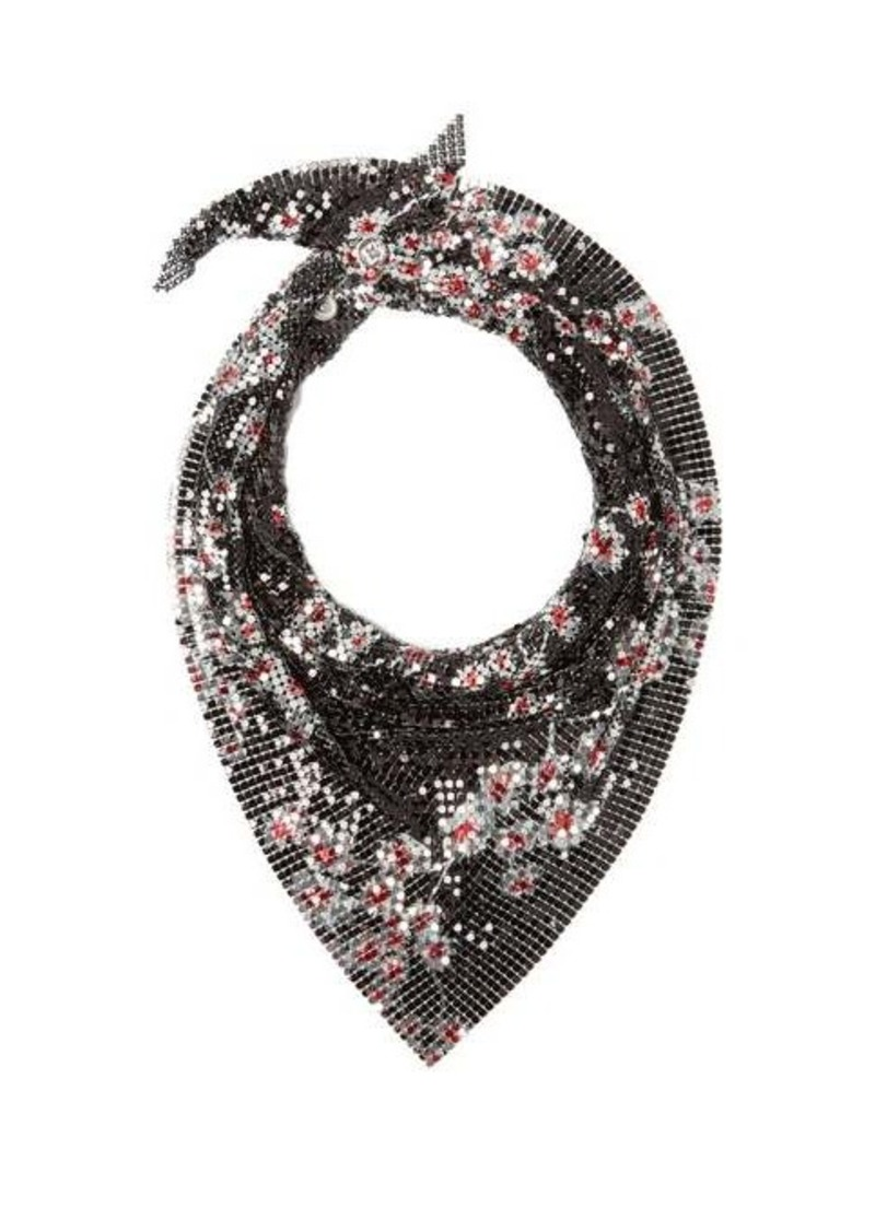 Paco Rabanne Floral-print chaimail mesh scarf