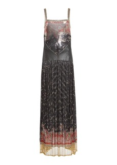 Paco Rabanne Fringe-Trimmed Printed Chainmail Maxi Dress