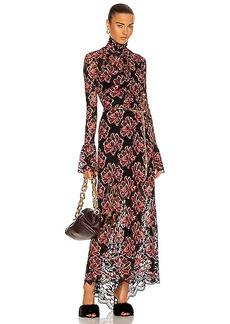 PACO RABANNE Gathered Lace Maxi Dress