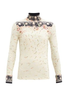 Paco Rabanne High-neck floral-print jersey top