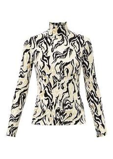 Paco Rabanne High-neck metallic swirl-jacquard top