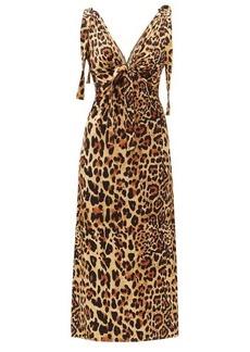 Paco Rabanne Knotted-shoulder leopard-print jersey dress