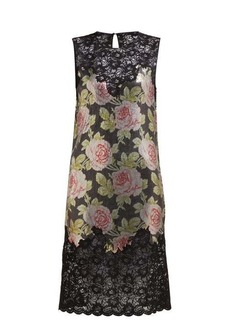 Paco Rabanne Lace and rose-print chainmail mini dress