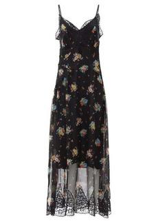 Paco Rabanne Lace-trim floral-print chiffon dress
