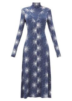 Paco Rabanne Open-back star-print jersey dress