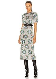PACO RABANNE Printed Floral Long Sleeve Midi Dress