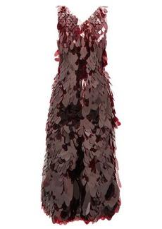 Paco Rabanne V-neck sequin-chainmail midi dress