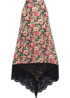 Paco Rabanne Woman Asymmetric Lace-trimmed Floral-print Stretch-cupro Midi Skirt Peach