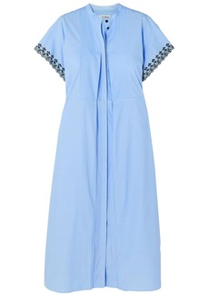 Paco Rabanne Woman Broderie Anglaise Cotton-poplin Midi Dress Light Blue