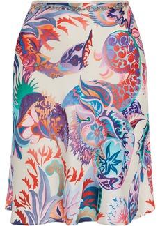 Paco Rabanne Woman Chain-trimmed Printed Satin Skirt Ecru