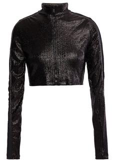 Paco Rabanne Woman Cropped Metallic Stretch-jersey Jacket Black
