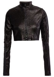 Paco Rabanne Woman Cropped Metallic Stretch-jersey Jacket Black