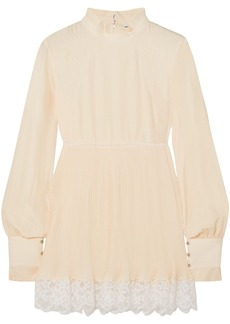 Paco Rabanne Woman Lace-trimmed Crepe Tunic Ivory
