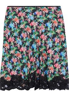 Paco Rabanne Woman Lace-trimmed Floral-print Crepe De Chine Mini Skirt Multicolor