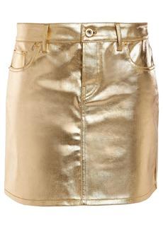 Paco Rabanne Woman Metallic Coated-denim Mini Skirt Gold