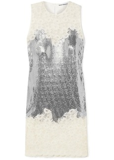 Paco Rabanne Woman Paneled Corded Lace And Chainmail Dress Off-white