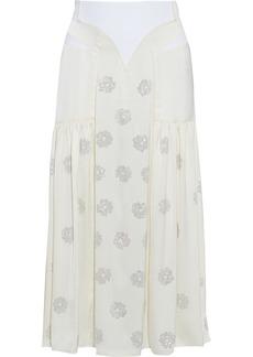Paco Rabanne Woman Paneled Crystal-embellished Satin Midi Skirt Off-white