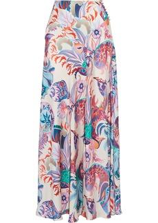 Paco Rabanne Woman Printed Satin Maxi Skirt Ecru