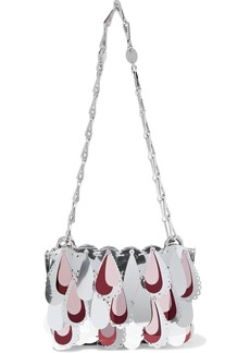 Paco Rabanne Woman Sparkle Nano Paillete-embellished Chainmail And Leather Shoulder Bag Silver