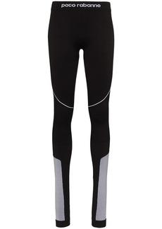 Paco Rabanne panelled logo-detailed leggings
