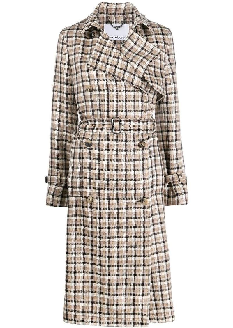 Paco Rabanne plaid trench coat