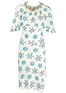 Paco Rabanne ruffled floral-print dress