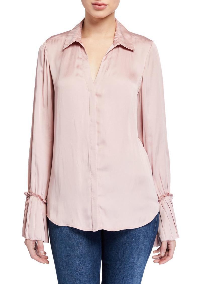 Paige Abriana Satin Long-Sleeve Shirt