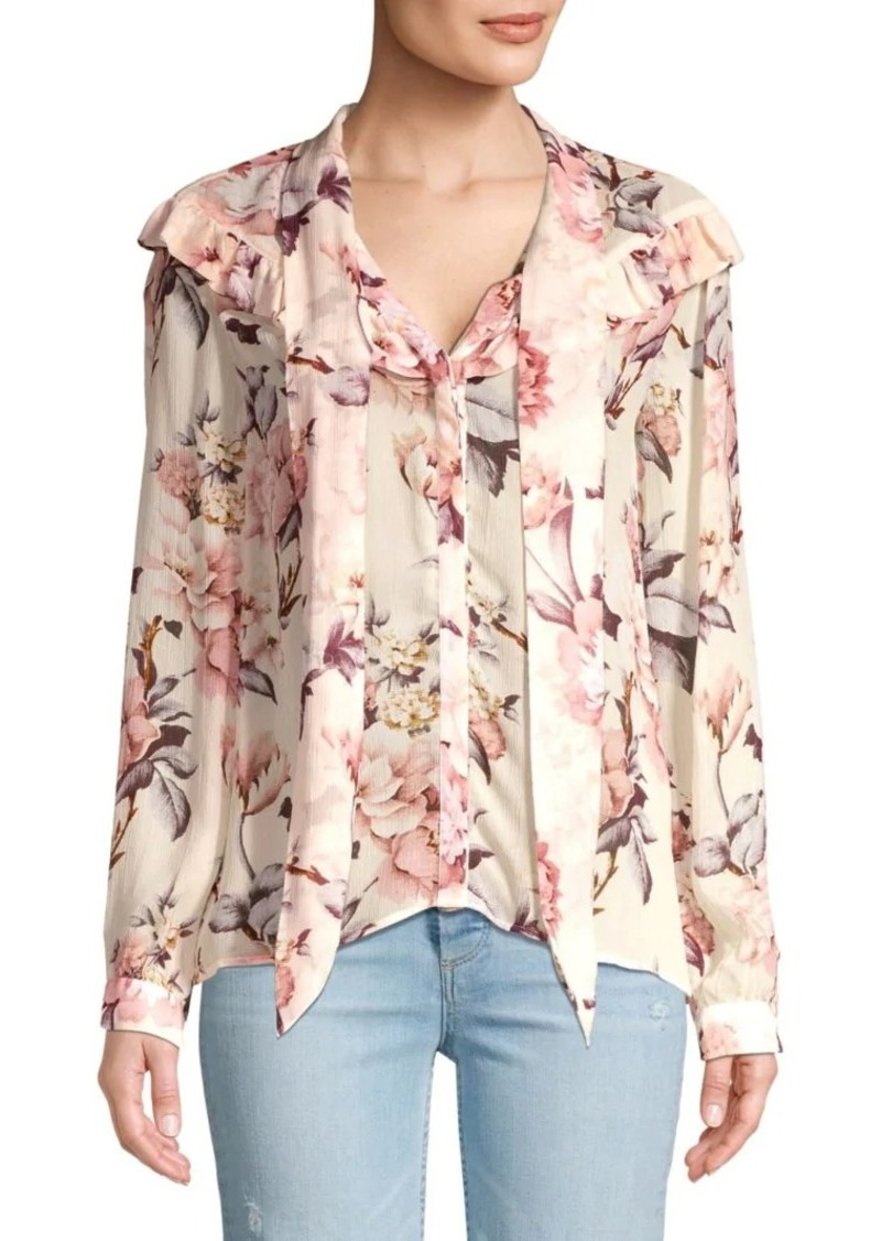 Paige Amore Silk Floral Tie Neck Blouse