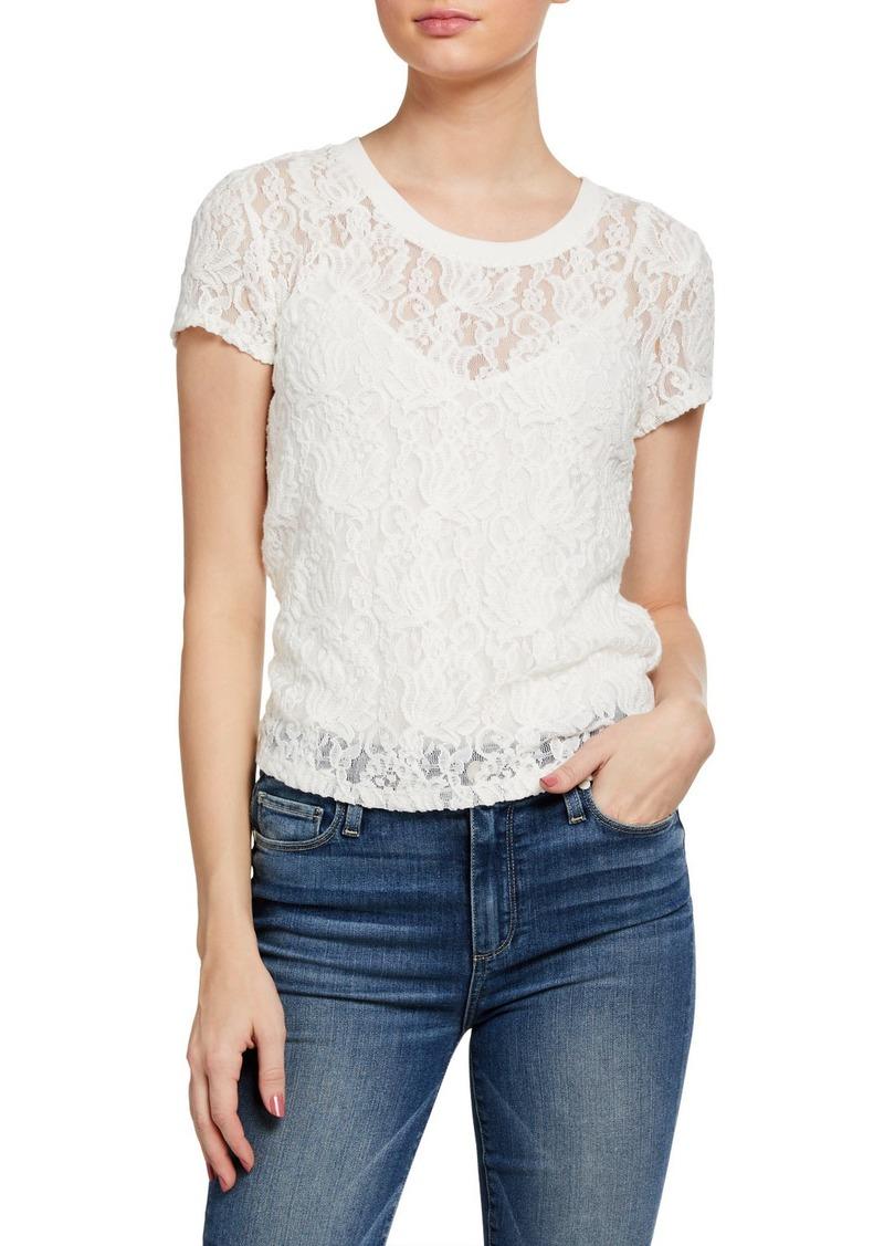Paige Brady Cotton Lace Illusion Top