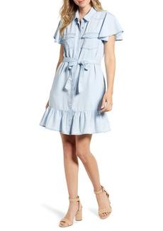 Paige Callan Ruffle Chambray Dress