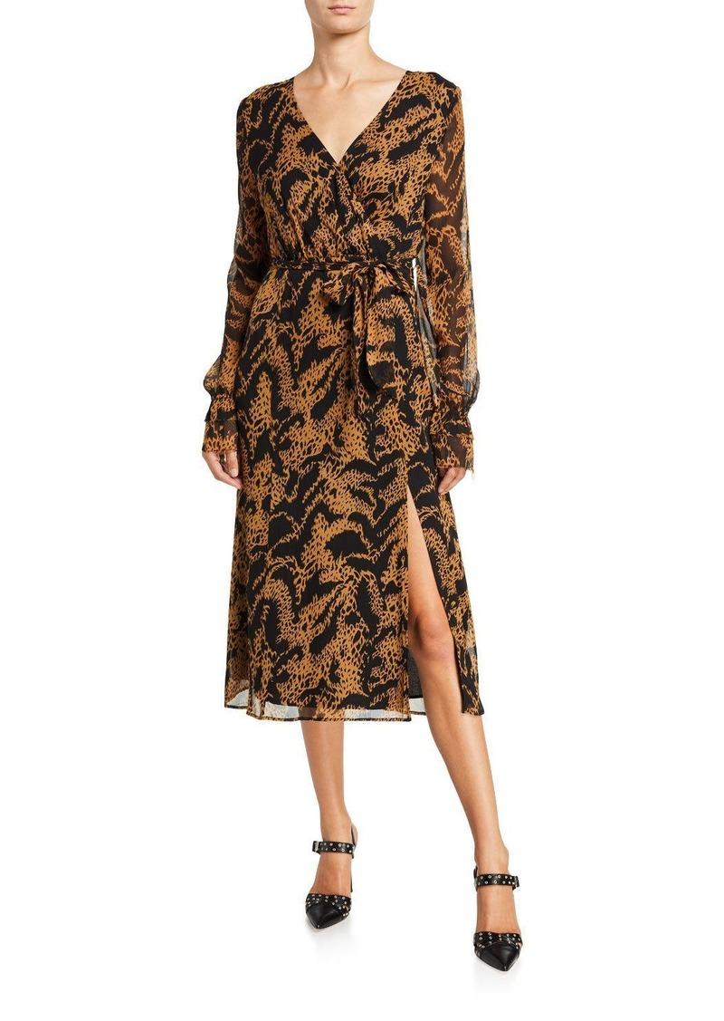 Paige Chamomile Printed Long-Sleeve Wrap Dress