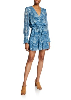 Paige Christine Printed Long-Sleeve Short Dress