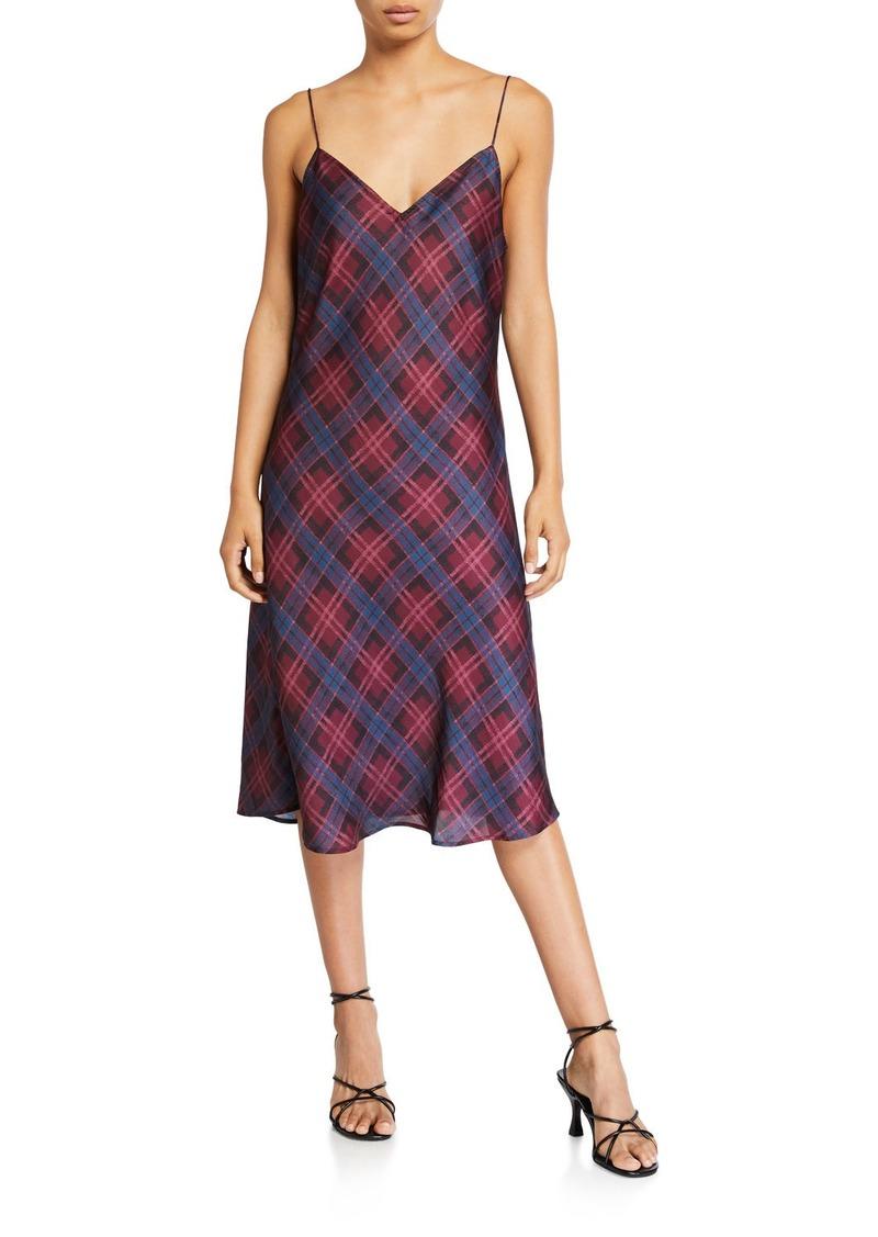 Paige Cicely Plaid Slip Dress w/ Slit