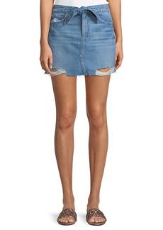 Paige Denim Aideen Tie-Front Distressed Denim Skirt