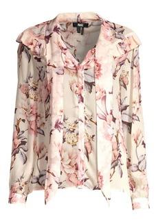 Paige Denim Amore Silk Floral Tie Neck Blouse