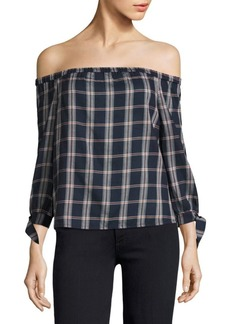 Paige Denim Antonia Plaid Off-The-Shoulder Top