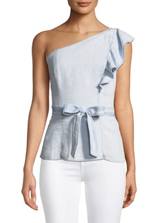 Paige Denim Cantina One-Shoulder Ruffle Top
