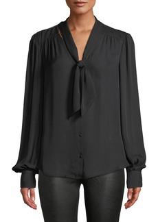 Paige Denim Cleobelle Silk Tie-Neck Button-Down Blouse